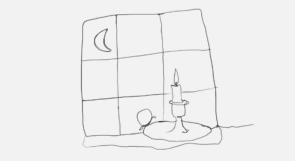 An illustration of a chamberstick with a lit candle in front of a paned window with a crescent moon.